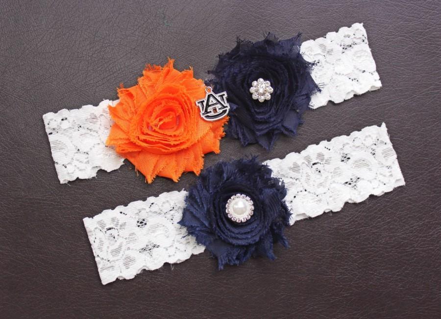 زفاف - Auburn Tigers Wedding Garter Set, Auburn Garter, Auburn Tigers Bridal Garter Set, White Lace Wedding Garter, Auburn University Garter