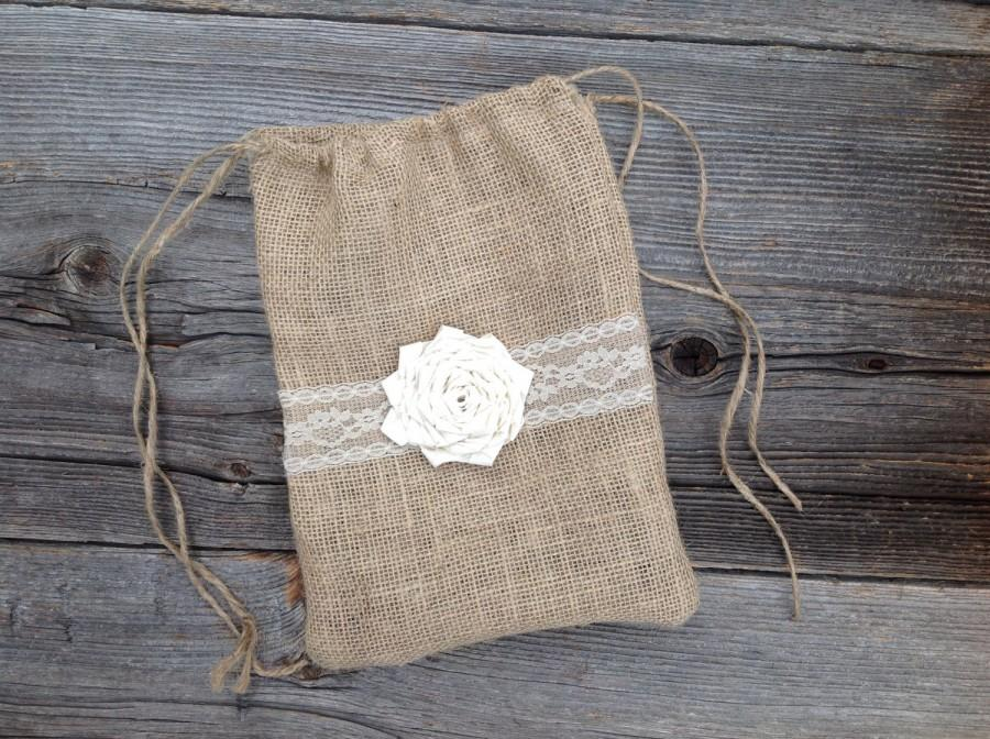 Dollar Dance Bag Money Wedding Rustic Burlap Ivory Lace
