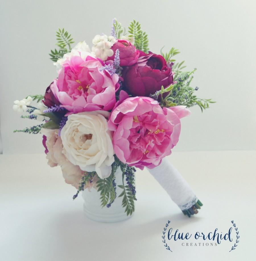 Peony And Rose Bouquet With Wildflowers In Pink Purple Cream Plum