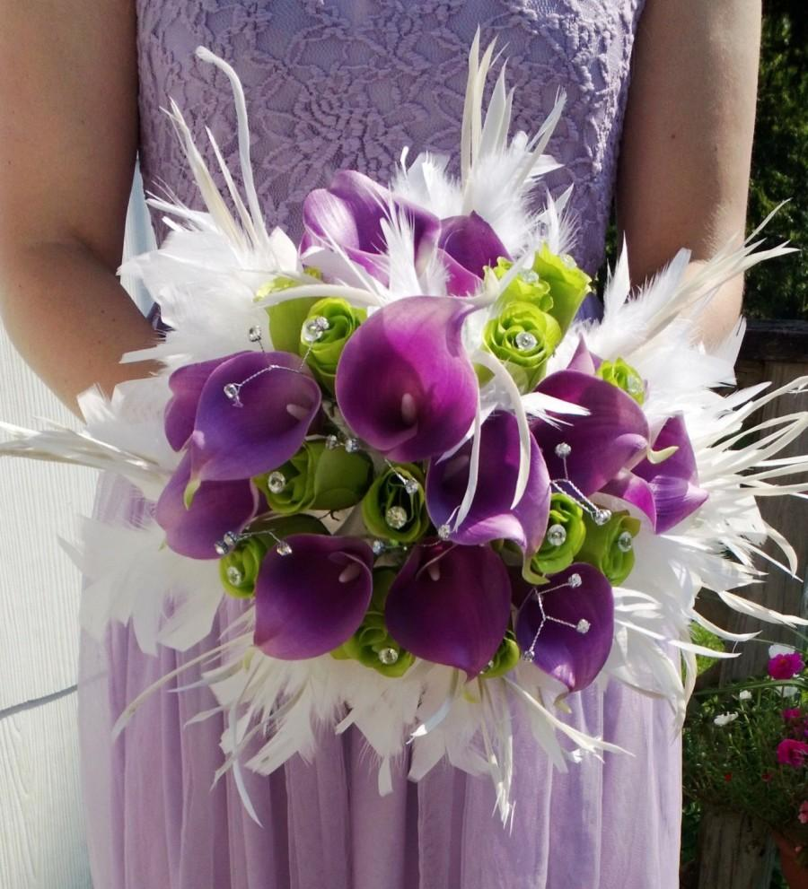 Свадьба - 17 piece Real Touch Lavender Calla Lily White Feather Bridal Bouquet Wedding Bouquet set, White Lavender Lime Bouquet, Calla Lily Bouquet