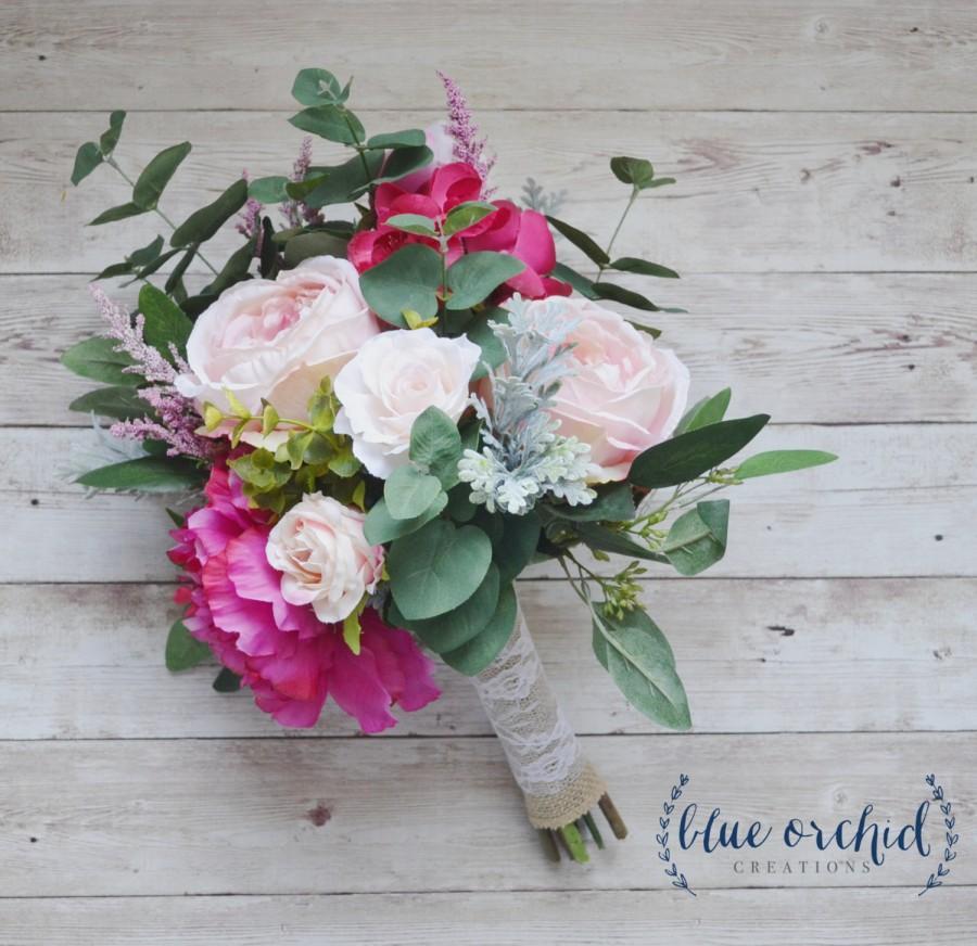 Pink Boho Bouquet With Eucalyptus Silk Bouquet Wedding Bouquet
