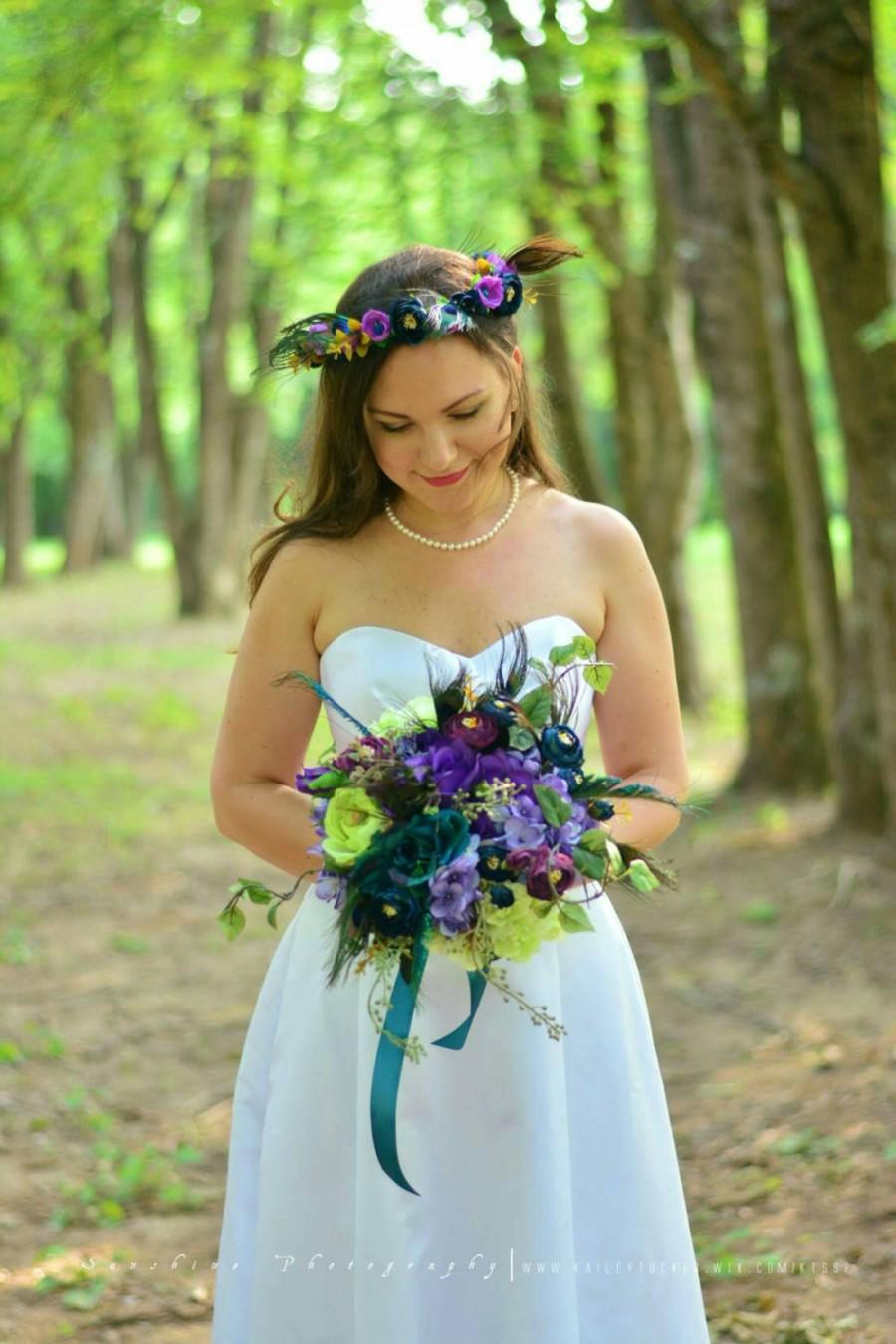 Mariage - Peacock bouquet - Peacock wedding flowers - Purple and teal bridal bouquet - Peacock roses, hydrangea and ranunculus - Silk bridal bouquets