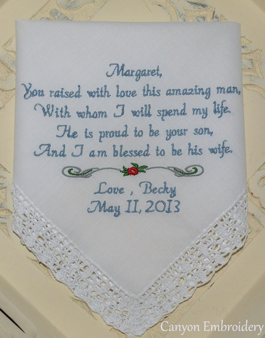 Mariage - Mother of the Groom Embroidered Wedding Hankerchief Mother In-Law Handkerchief By Canyon Embroidery