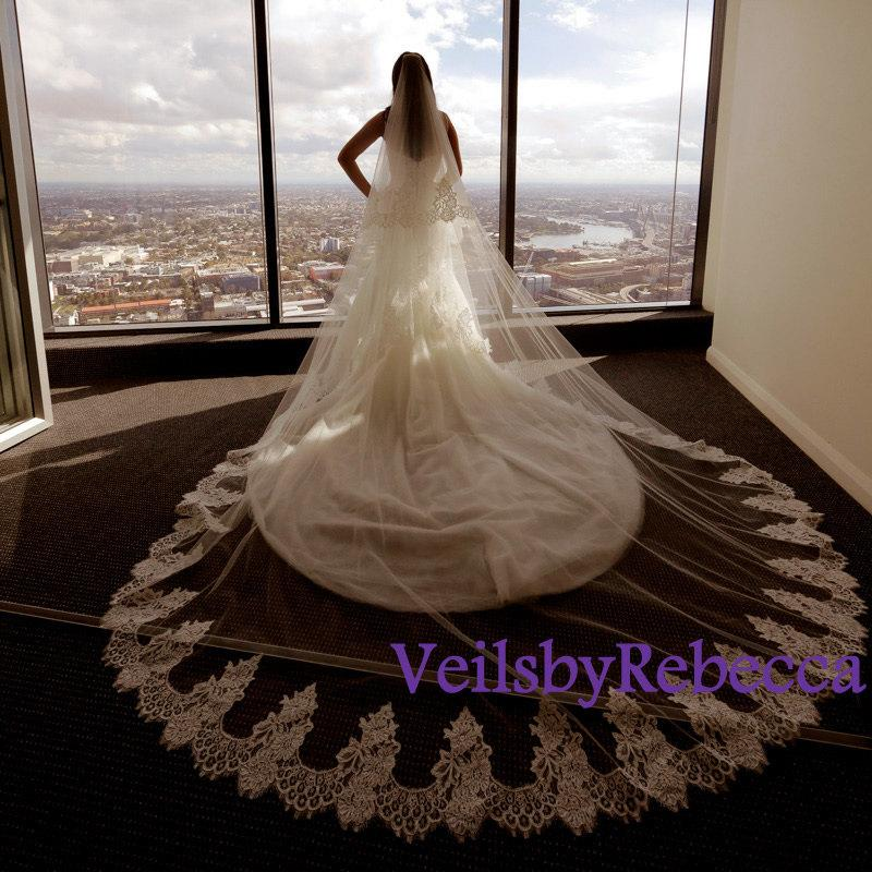 Mariage - Ready to ship lace veil,2 tier ivory cathedral lace veil, ivory lace cathedral veil, lace veil cathedral, lace blusher wedding veil