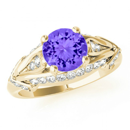 Mariage - Tanzanite & Diamond Engagement Ring 14k Yellow Gold - 6.5mm Gemstone Ring - Tanzanite Rings for Women - Fashion, Cocktail, Wedding Gifts