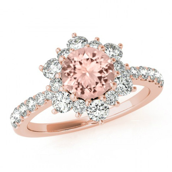 Wedding - Morganite & Diamond Flower Lotus Halo Engagement Ring 14k Rose Gold - 6.5mm Morganite - Morganite Rings for Women - Gemstone Anniversary Rings