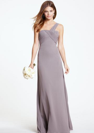 Wedding - Grey Zipper Chiffon Ruched Sleeveless One Shoulder Floor Length Bridesmaid