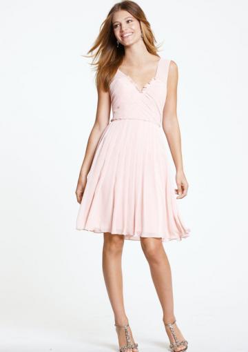 Boda - Chiffon V-neck Knee Length V-back Ruched Pink Zipper Sleeveless