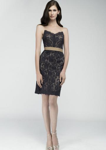 Wedding - Sleeveless Black Straps Ribbon Buttons Ruched Column Lace Knee Length