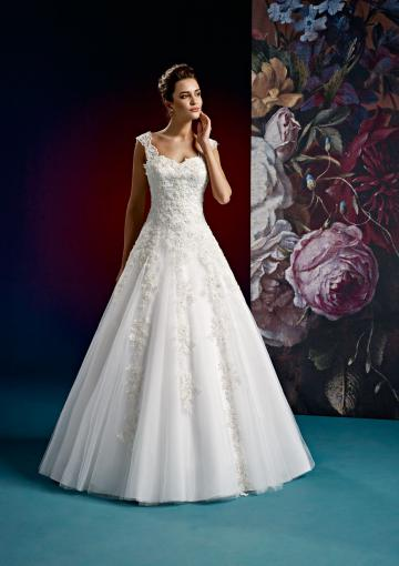 Wedding - Sleeveless Sweep Appliques White Zipper Pleated Ball Gown Straps V-back Tulle