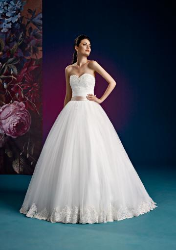 Wedding - White Sweetheart Sweep Sash Lace Up Sleeveless Appliques Ball Gown Tulle