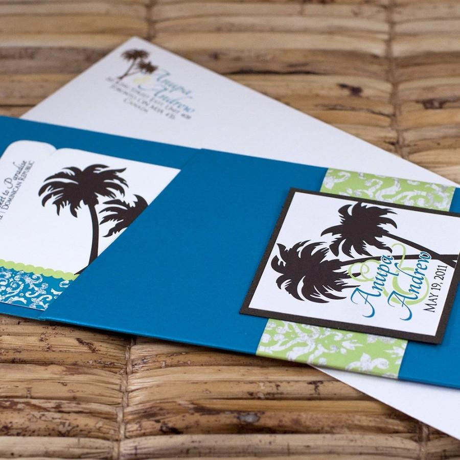 Wedding - Boarding Pass Invitation or Save the Date Design Fee (Turquoise Damask, Chocolate Palm Tree with Lime)