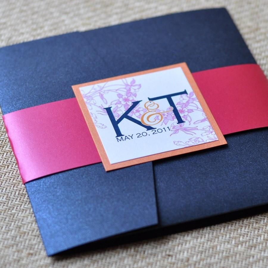 Wedding - Pocket Fold Wedding Invitation Design Fee (Navy, Tangerine and Fuchsia Floral Design)