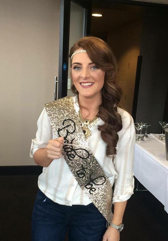 Wedding - Bride to be sash - gold glitter handmade - Bachelorette Sash - Hen Party Sash - Hens night - Bridal Shower sash