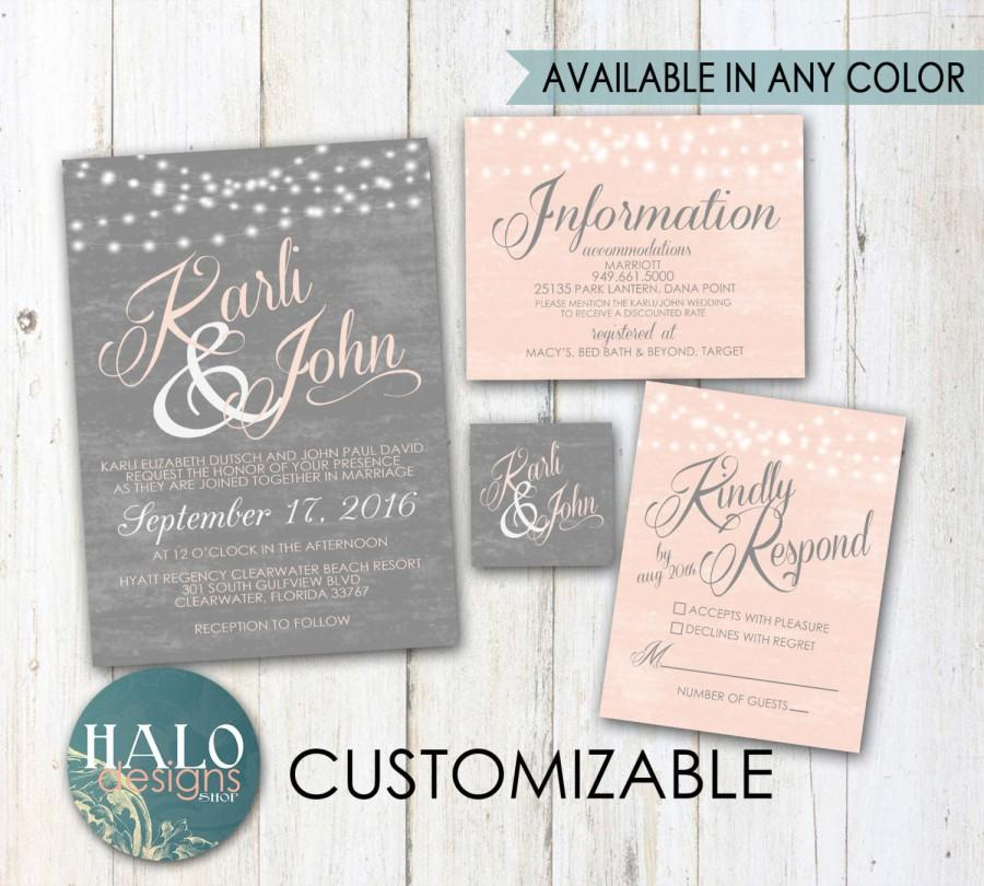 Grey & Blush Wedding Invitations - Invitation Kit, Thank You Card ...