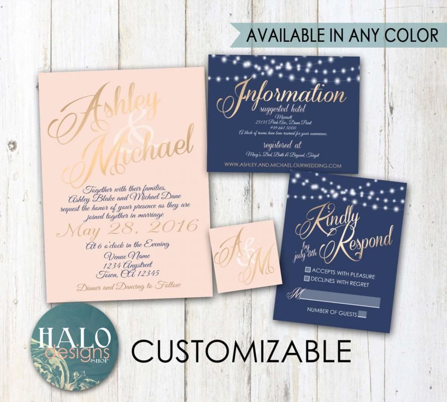 classic blush navy wedding invitations gold neutal blush navy classic elegant invitation rsvp info card - Navy And Blush Wedding Invitations