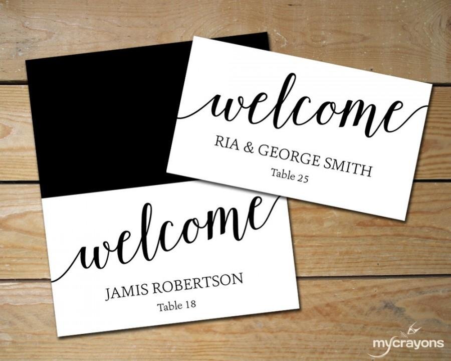 Diy place cards wedding black and white place cards for Templates for place cards for weddings