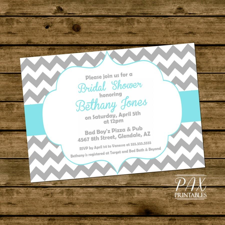 Wedding - Printable Bridal Shower Invitation - Frame Chevron Bridal Invitation - Bachelorette Party, Engagement Party, Hens Night, ANY EVENT