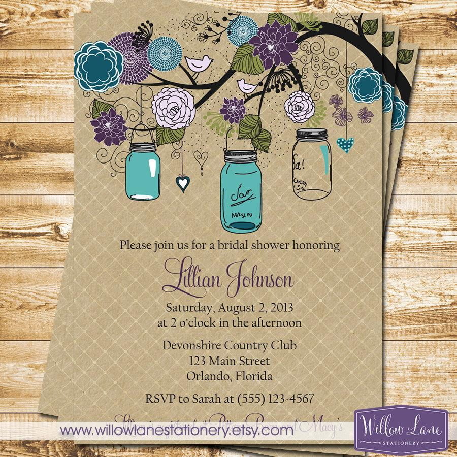 Mason Jar Bridal Shower Invitation Mason Jar Bridal Shower Invite