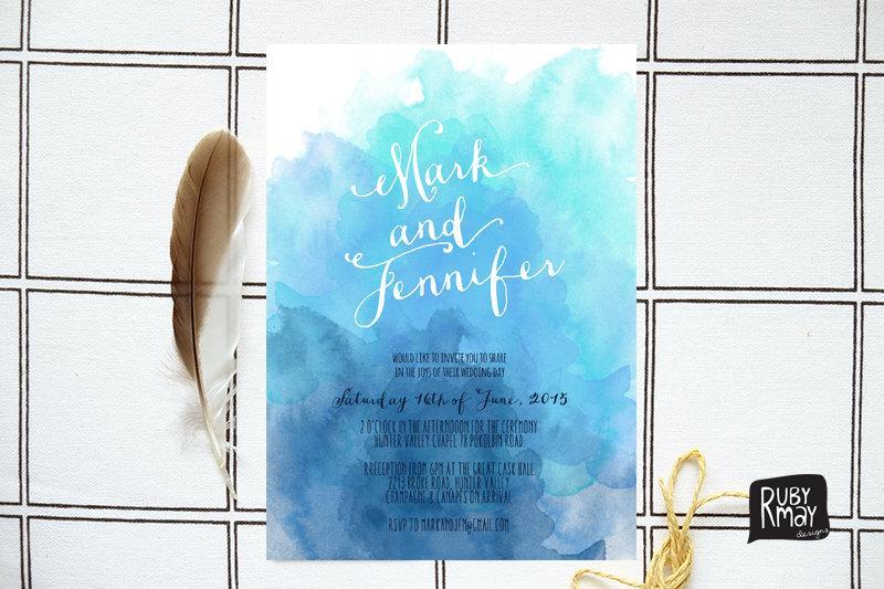 Watercolour Wedding Invitation