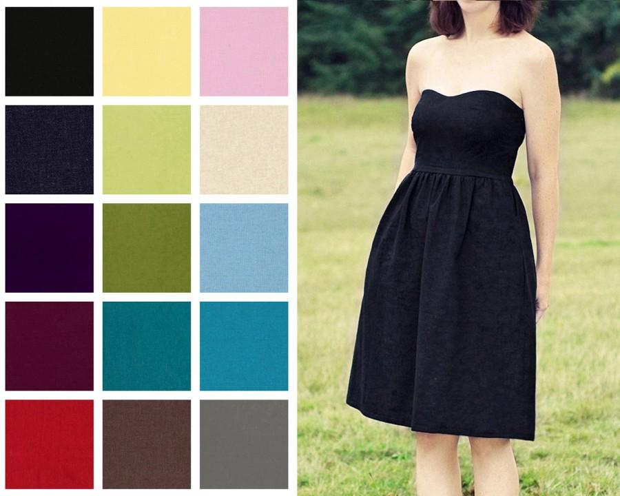 Mariage - Custom Sweetheart, Strapless, Linen blend Dress with Pockets - Knee Length  - COLOR OPTIONS