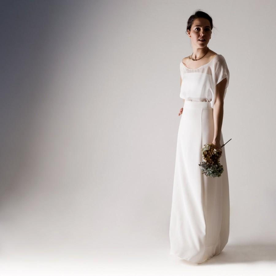Wedding Dress Separates White Alternative Minimal Modern Modest
