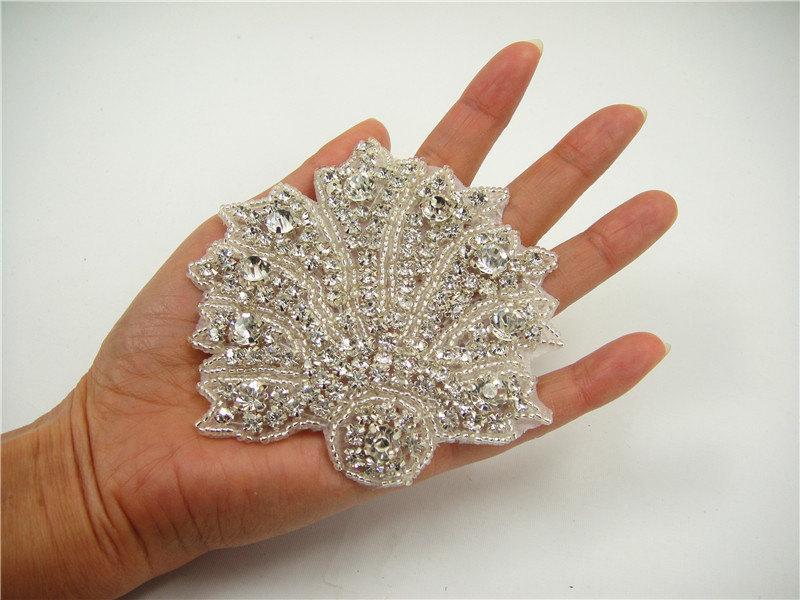 Mariage - Wedding Rhinestone applique, Bridal Sash Applique, Shell Crystal Sash applique, diamante applique, Bridal Applique, Beach Wedding