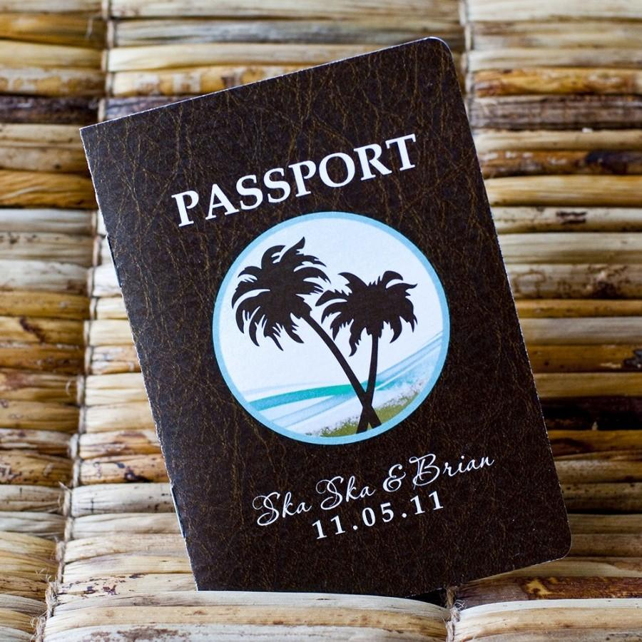 Passport wedding invitation design fee faux leather look cover with passport wedding invitation design fee faux leather look cover with palm tree beach design stopboris Gallery