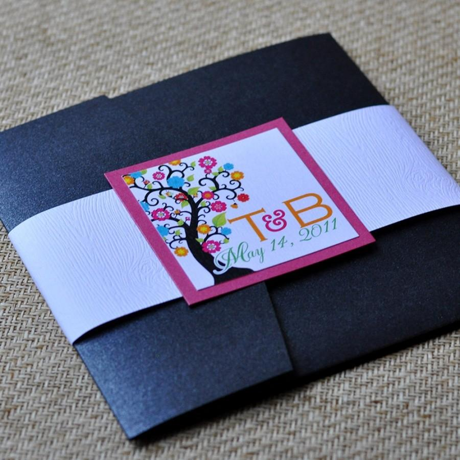Wedding - Pocket Fold Wedding Invitation Design Fee (Vibrant Swirly Tree Design with Woodgrain Wrap)
