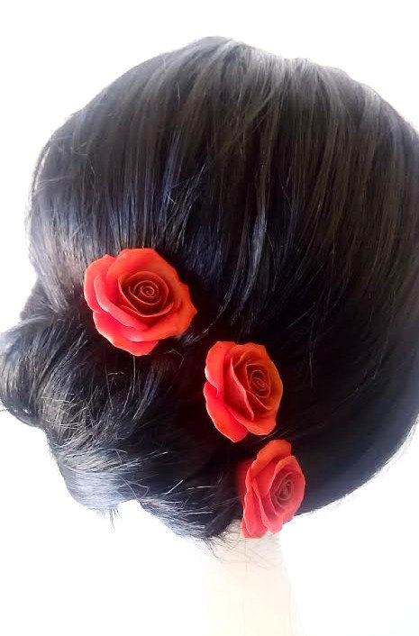 Mariage - Red roses large rose, Wedding Hair Accessories, Bohemian Wedding Hairstyles Hair Flower - Set of
