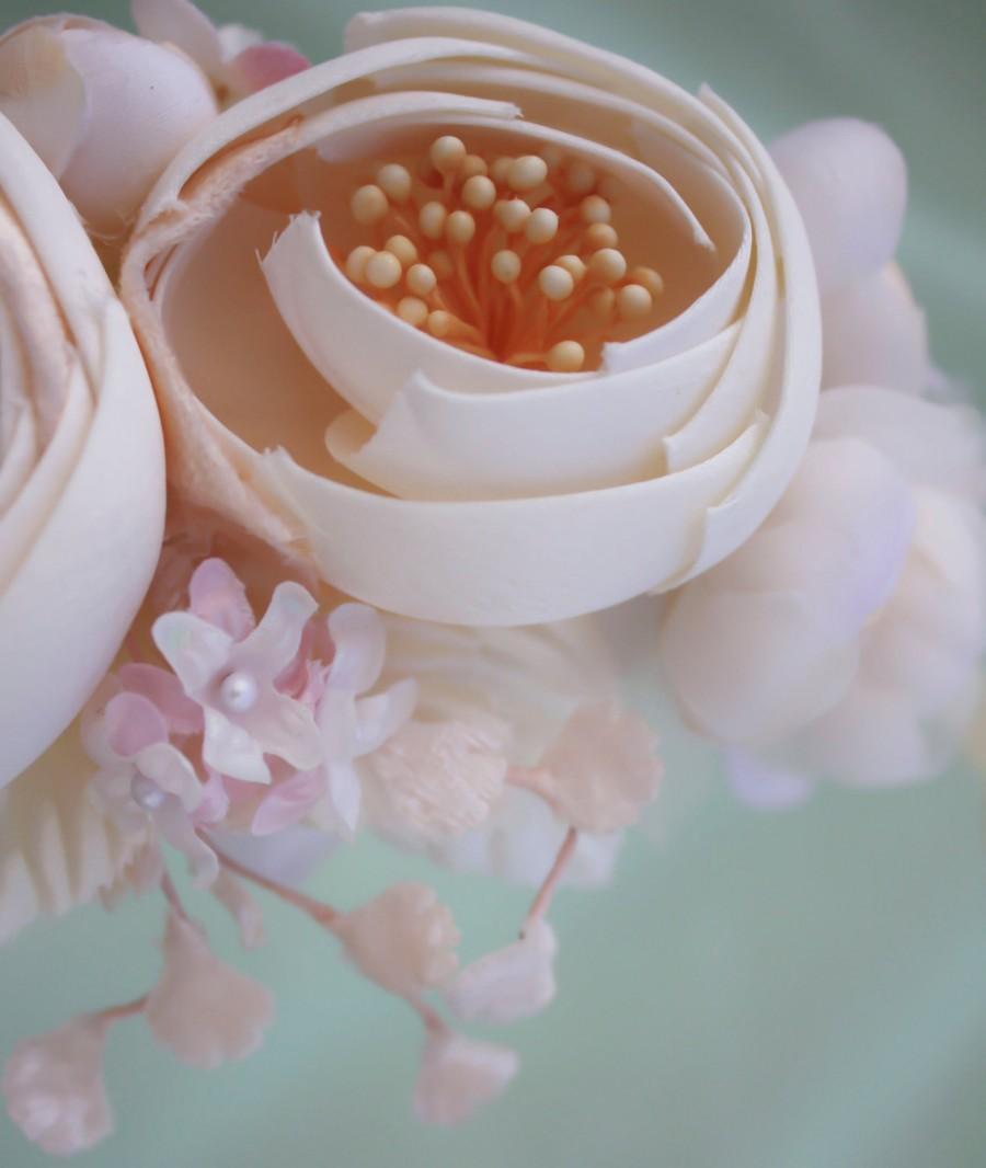 Свадьба - ivory bridal flower hair crown, woodland wedding, ivory flower, milinery flowerwedding hair accessories