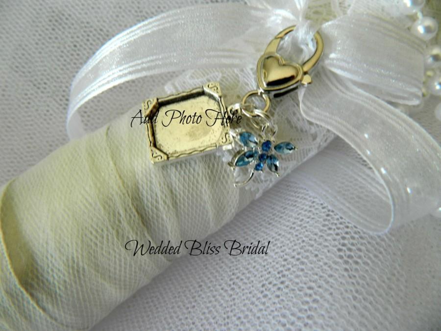 "Hochzeit - Wedding Bouquet photo charm -Living or Memory Keepsake - ""something Blue"" dragonfly charm- SILVER TONE"