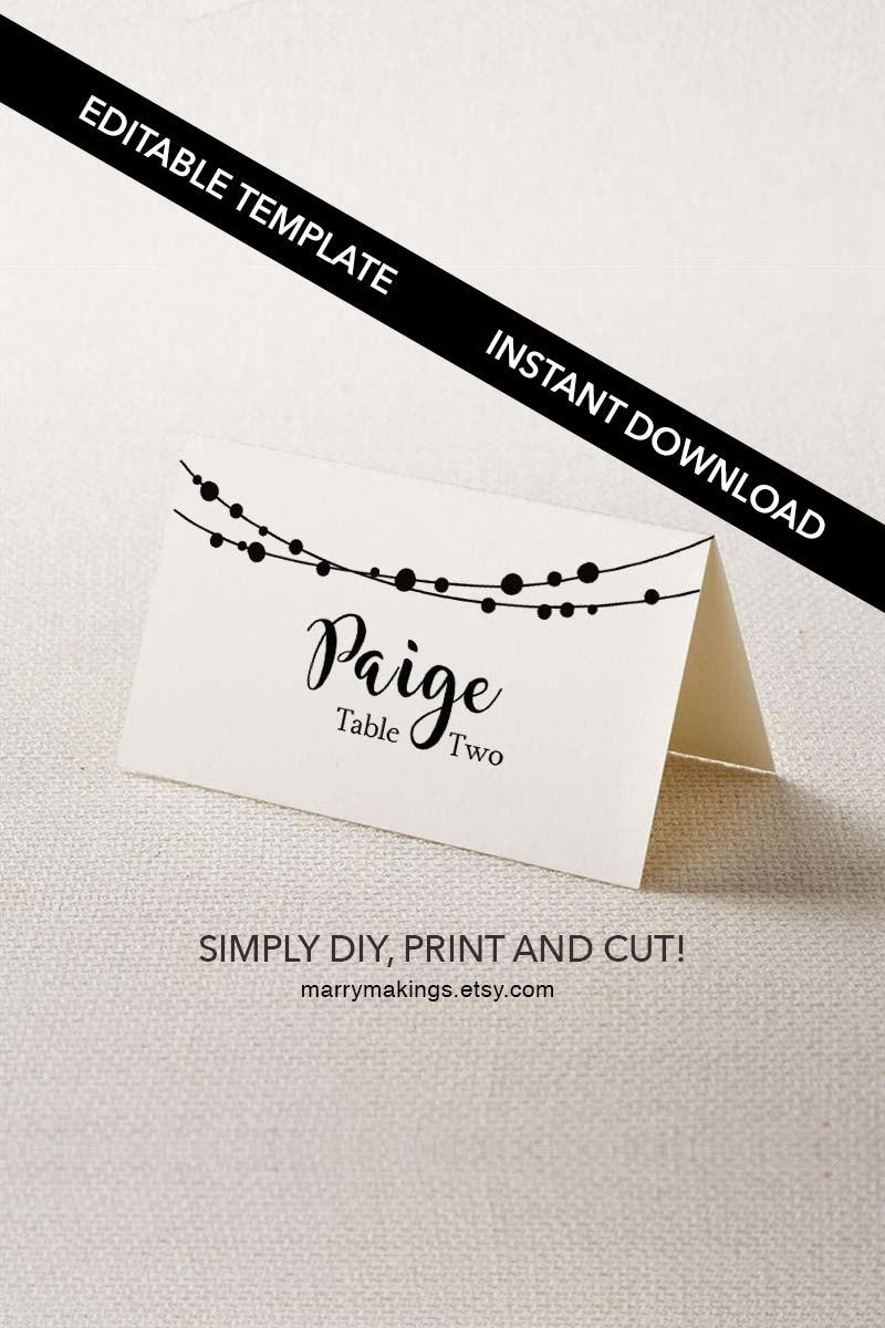 Place Card Template, 23, Wedding Template, Editable DIY Place Card ...