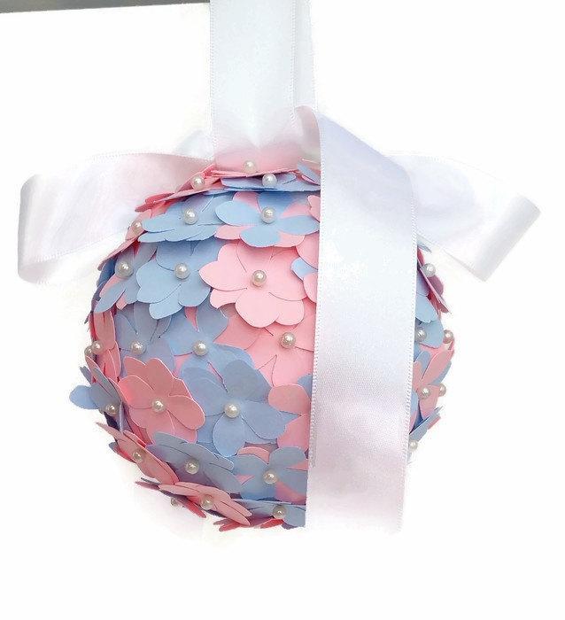 Mariage - Pink and blue kissing ball, flowergirl pomander, aisle decoration, wedding decor, wedding accessories, wedding photo prop