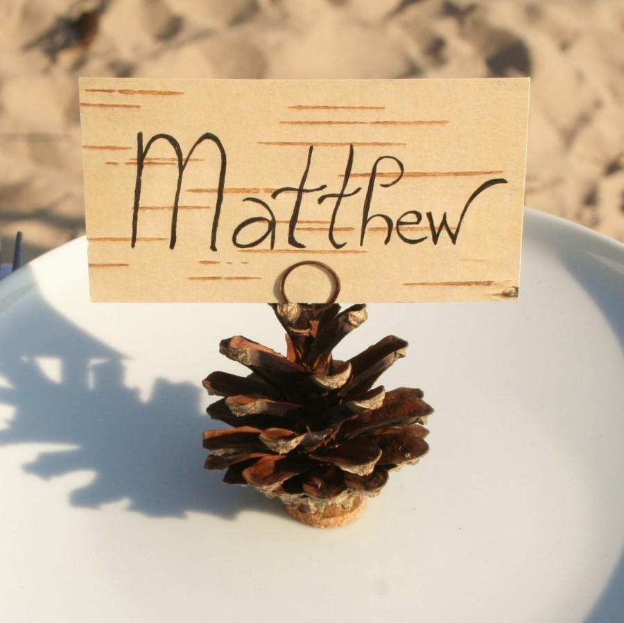 Pine Cone Place Card Holders And Birch Bark Print Name Cards Rustic Woodland Wedding 10 Pcs