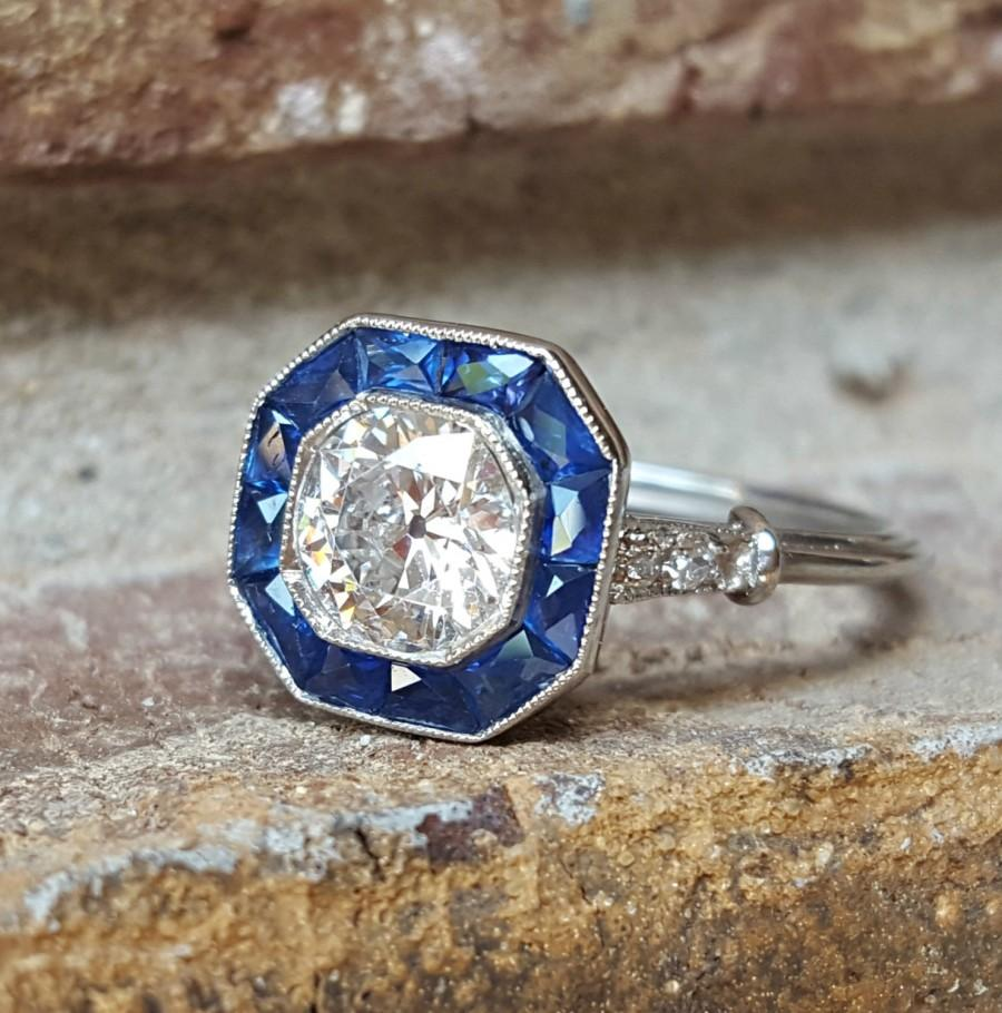 Mariage - Vintage Antique Art Deco Old European Diamond and Sapphire Platinum Halo Target Engagement Ring