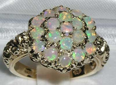 Mariage - English 9K Yellow Gold Large Genuine Colorful Fiery Opal Engagement Ring, Cluster Flower Ring, Victorian Style Ring - Customizable