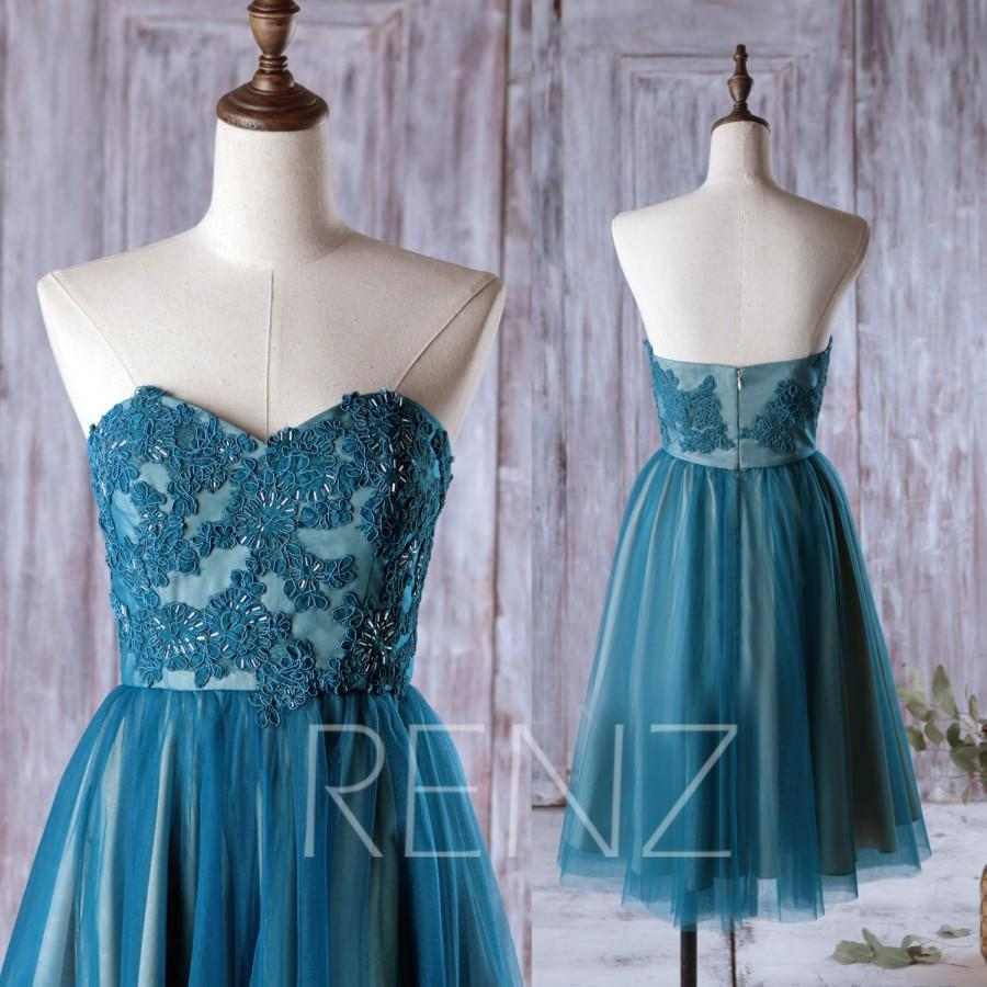 2016 Dark Teal Bridesmaid Dress, Mesh Wedding Dress, Lace Sweetheart ...