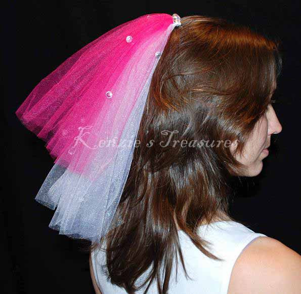 Mariage - Create Your Own 2 Color Layer Wedding or Bachelorette Party Veil Clip With Rhinestones