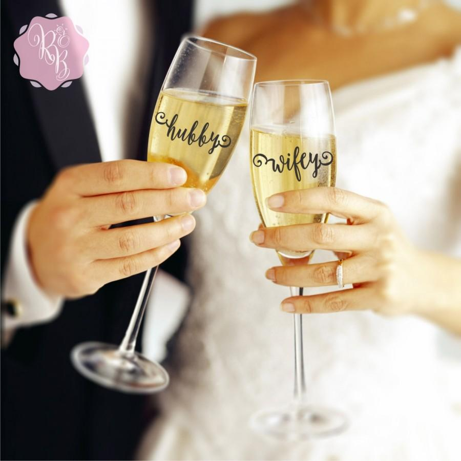 decorate champagne glasses. Wedding Champagne Flute Decals  Hubby Wifey Decal Stickers Bride And Groom Flutes Decoration
