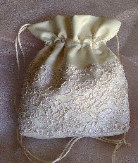 Wedding Bridal Ivory Drawstring Bag French White Alencon Lace Heirloom Keepsake Money Accessory