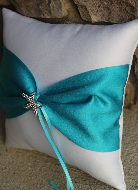 Wedding - Shinning Starfish Destination Beach Themed Wedding Ring Bearer Pillow - White and Malibu Turquoise Shown Other Colors Available