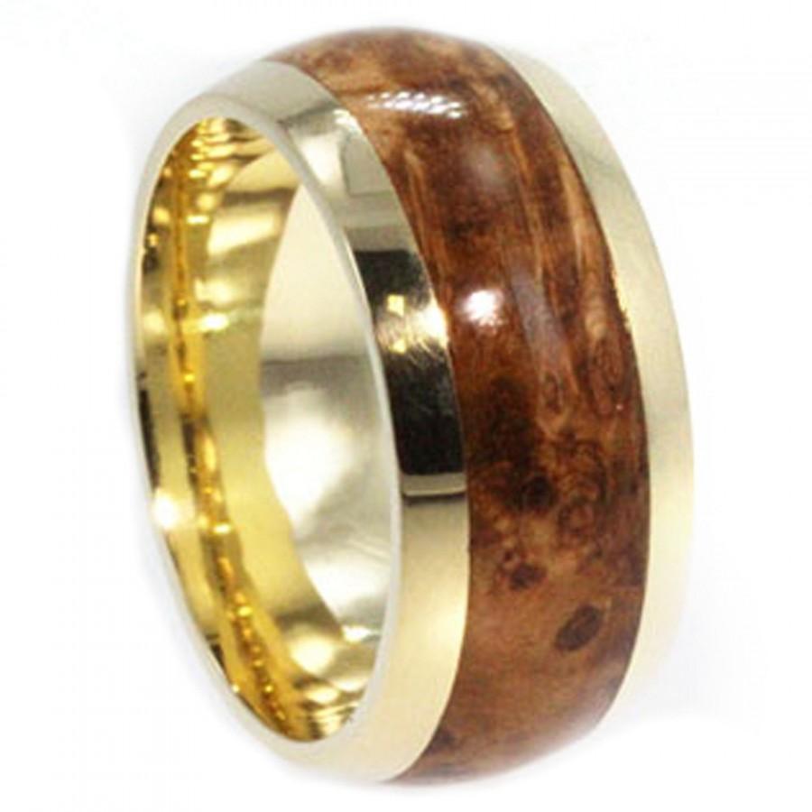 Свадьба - Wood Ring, 18k Yellow Gold Wedding Band With Black Ash Burl, Eco Friendly Ring