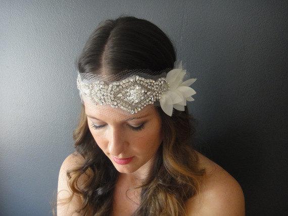 Свадьба - Wedding Headband, Bridal Bandeau, Bohemian Bridal, Bridal Headband, Bridal Petal headpiece, Crystal Ribbon Headband, Vintage Bridal Headband