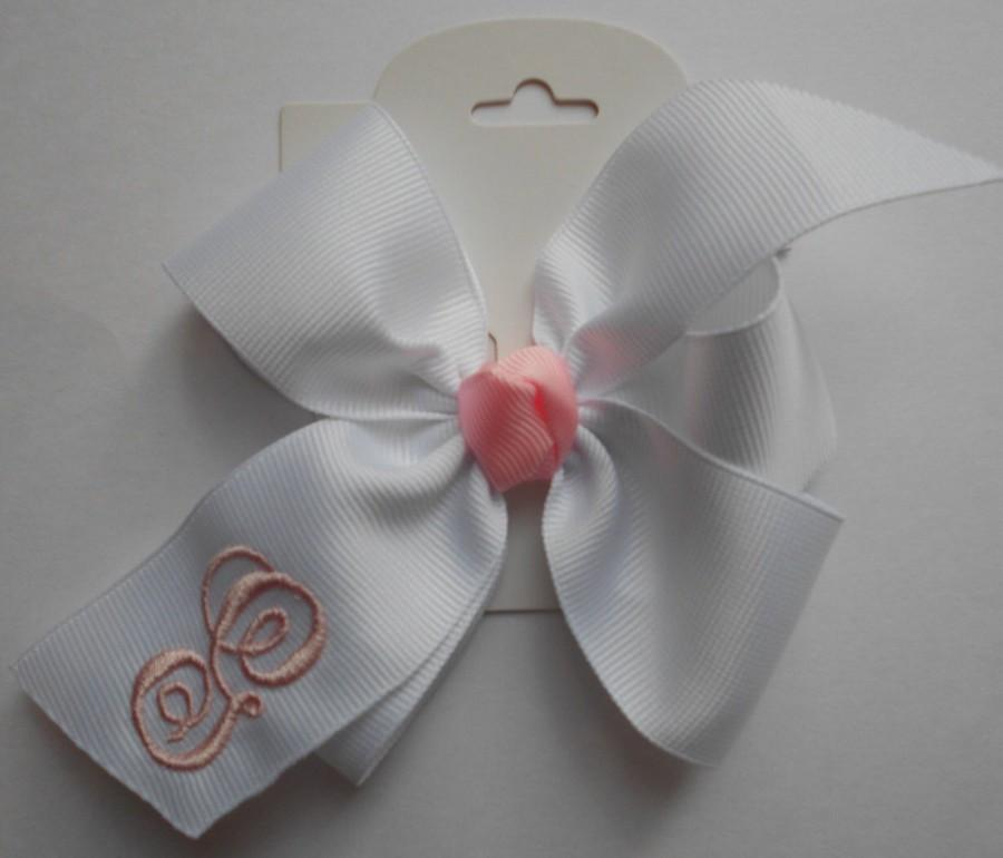 Monogram hair bow white initial girls personalized infant monogram hair bow white initial girls personalized infant monogrammed toddler spring easter basket babies size you choose initial hairbows negle Images
