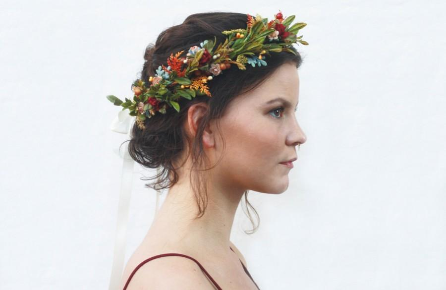 Mariage - Rustic Floral Crown, Boho, Olive Leaf, Hair Wreath, Bridal Flower Crown, Circlet, Flower Crown, Bohemian, Hair Wreath, Couronne De Fleurs