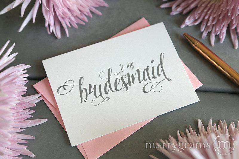 Boda - To My Bridesmaid, Maid of Honor, Wedding Bridal Party Thank You Note Cards - Bridesman, Man of Honor, Ring Bearer, Flower Girl CS12 Single