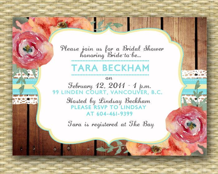 rustic bridal shower invitation country style bridal brunch watercolor floral invitation wood lace bridal tea any event any color