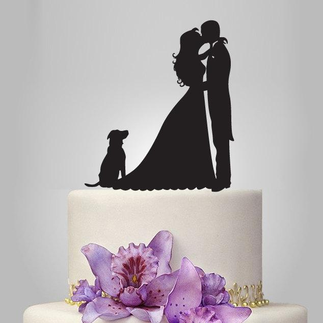 Hochzeit - Bride and Groom silhouette wedding Cake Topper,  acrylic Wedding Cake Topper, dog cake topper, couple kissing, funny cake topper