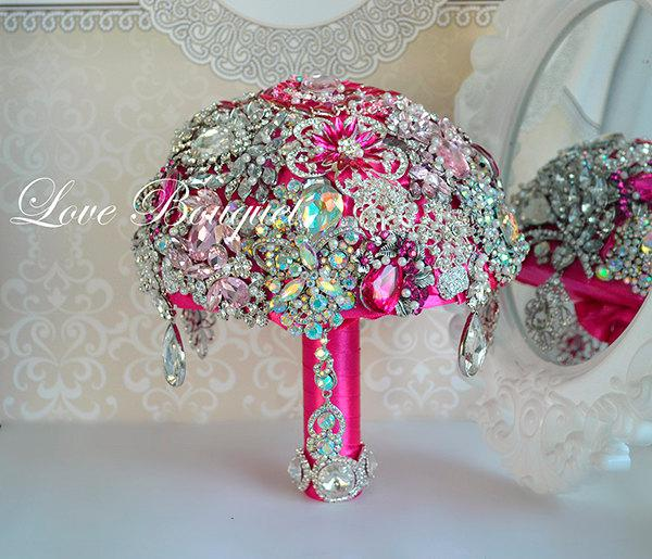 Mariage - Iridescent Brooch Bouquet, Fuchsia and Silver Wedding Brooch Bouquet, Bridal Bouquet, Jewelry Crystal Bouquet, Broach Rhinestone Bouquet